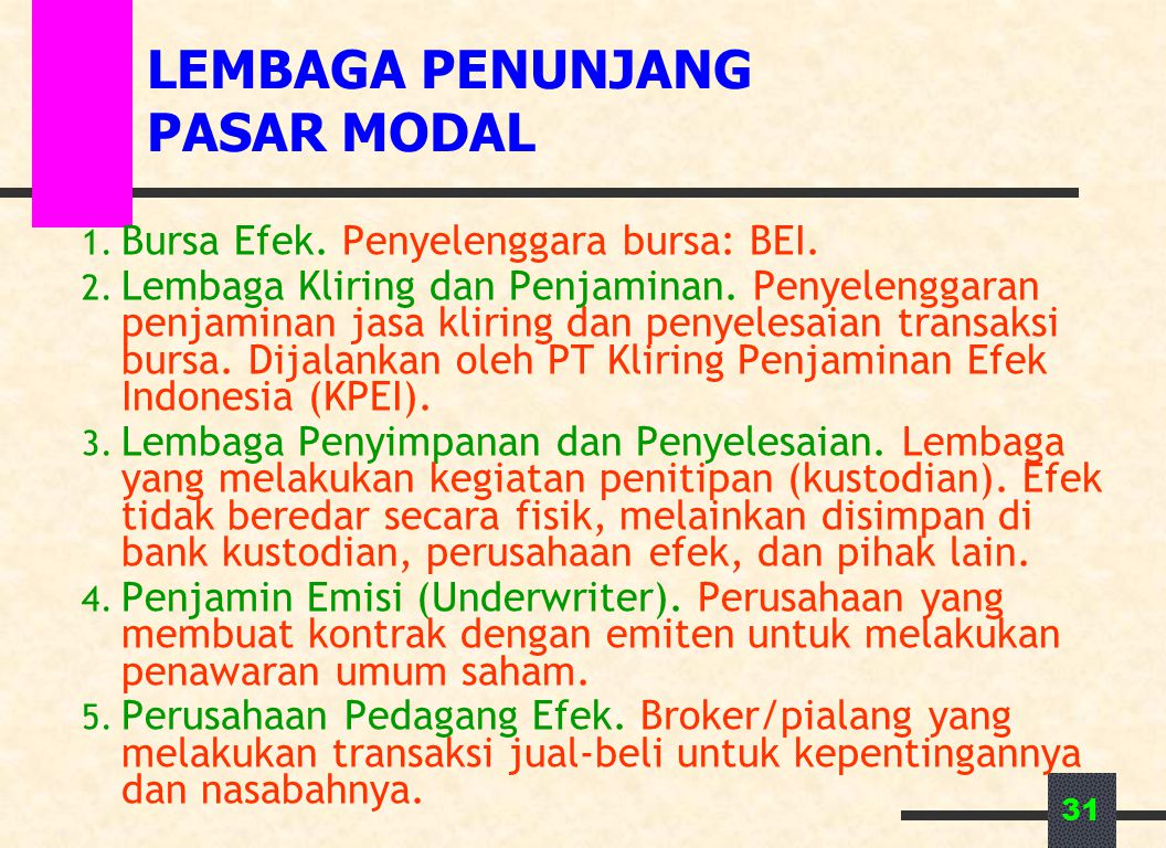 31 LEMBAGA PENUNJANG PASAR MODAL 1.Bursa Efek. Penyelenggara bursa: BEI.