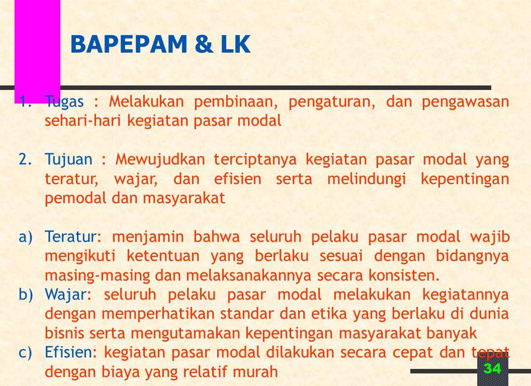 34 BAPEPAM & LK 1.Tugas : Melakukan pembinaan, pengaturan, dan pengawasan sehari-hari kegiatan pasar modal 2.Tujuan : Mewujudkan terciptanya kegiatan