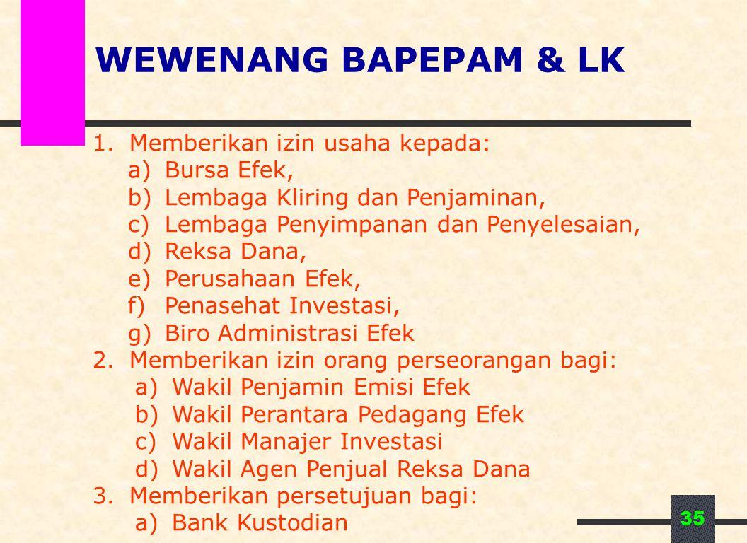 35 WEWENANG BAPEPAM & LK 1.Memberikan izin usaha kepada: a)Bursa Efek, b)Lembaga Kliring dan Penjaminan, c)Lembaga Penyimpanan dan Penyelesaian, d)Rek
