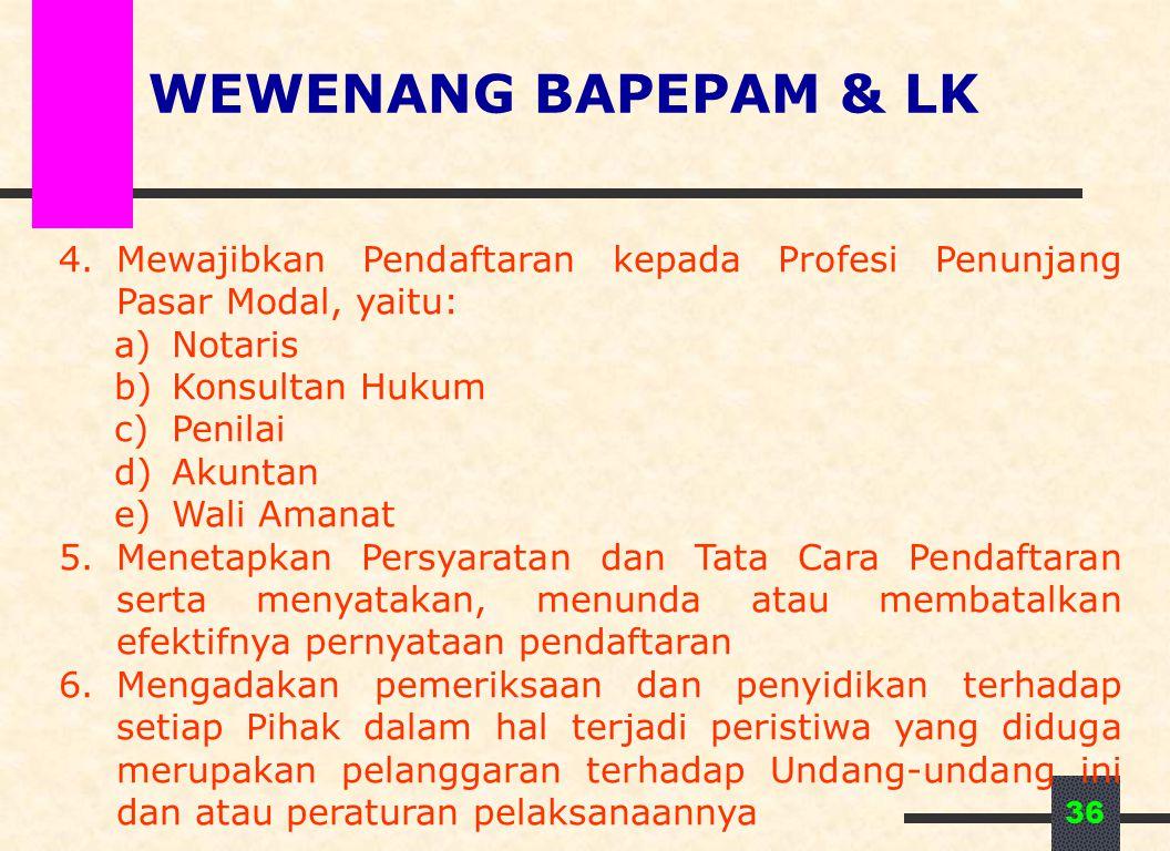 36 4.Mewajibkan Pendaftaran kepada Profesi Penunjang Pasar Modal, yaitu: a)Notaris b)Konsultan Hukum c)Penilai d)Akuntan e)Wali Amanat 5.Menetapkan Pe