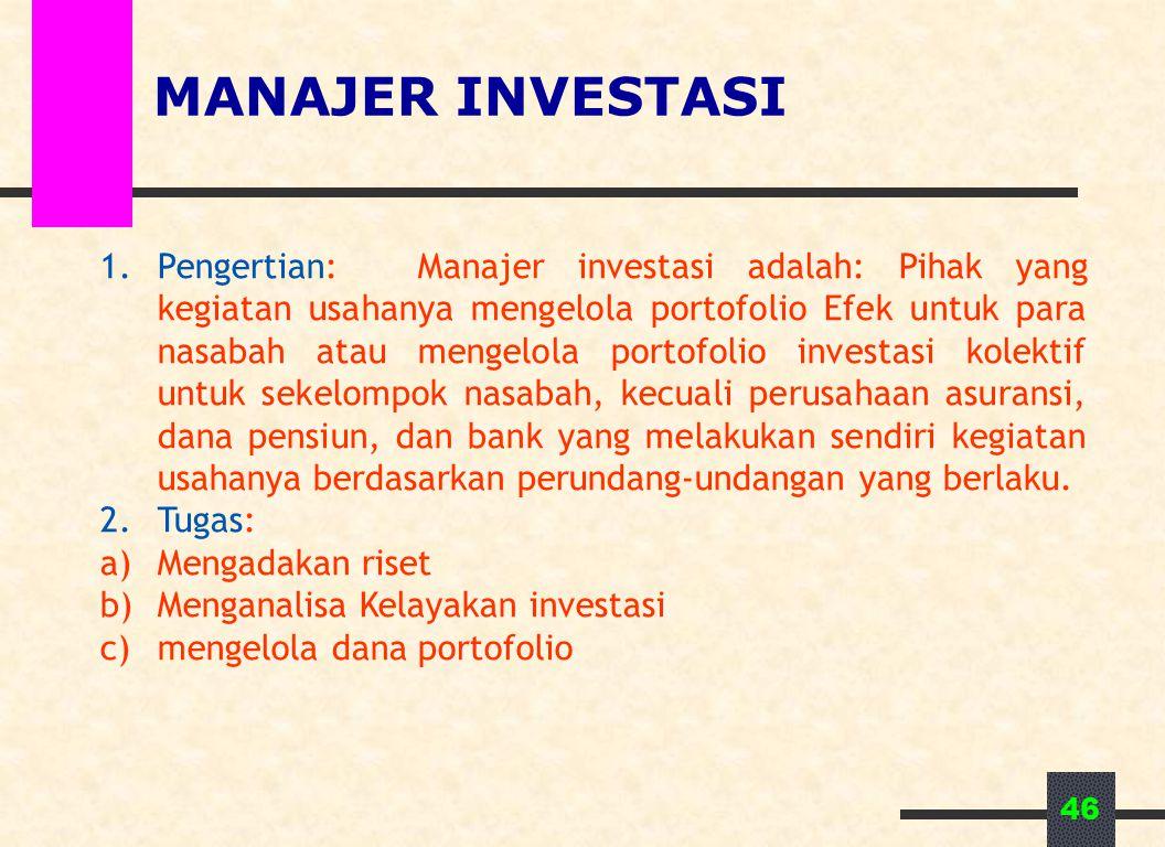 46 MANAJER INVESTASI 1.Pengertian: Manajer investasi adalah: Pihak yang kegiatan usahanya mengelola portofolio Efek untuk para nasabah atau mengelola