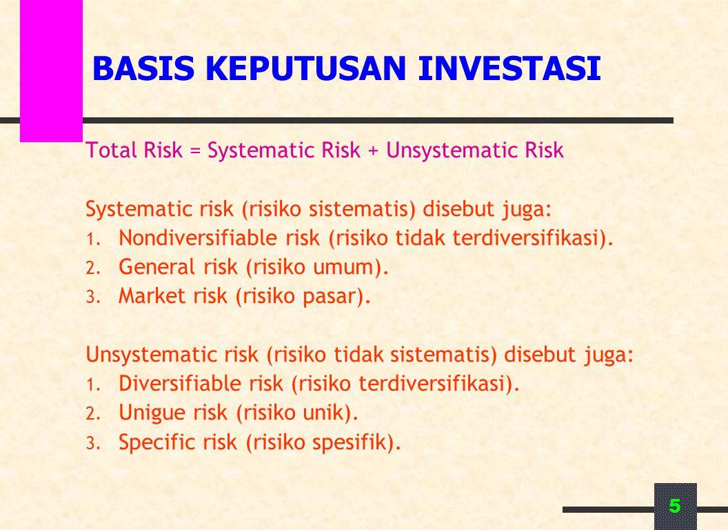 5 BASIS KEPUTUSAN INVESTASI Total Risk = Systematic Risk + Unsystematic Risk Systematic risk (risiko sistematis) disebut juga: 1. Nondiversifiable ris