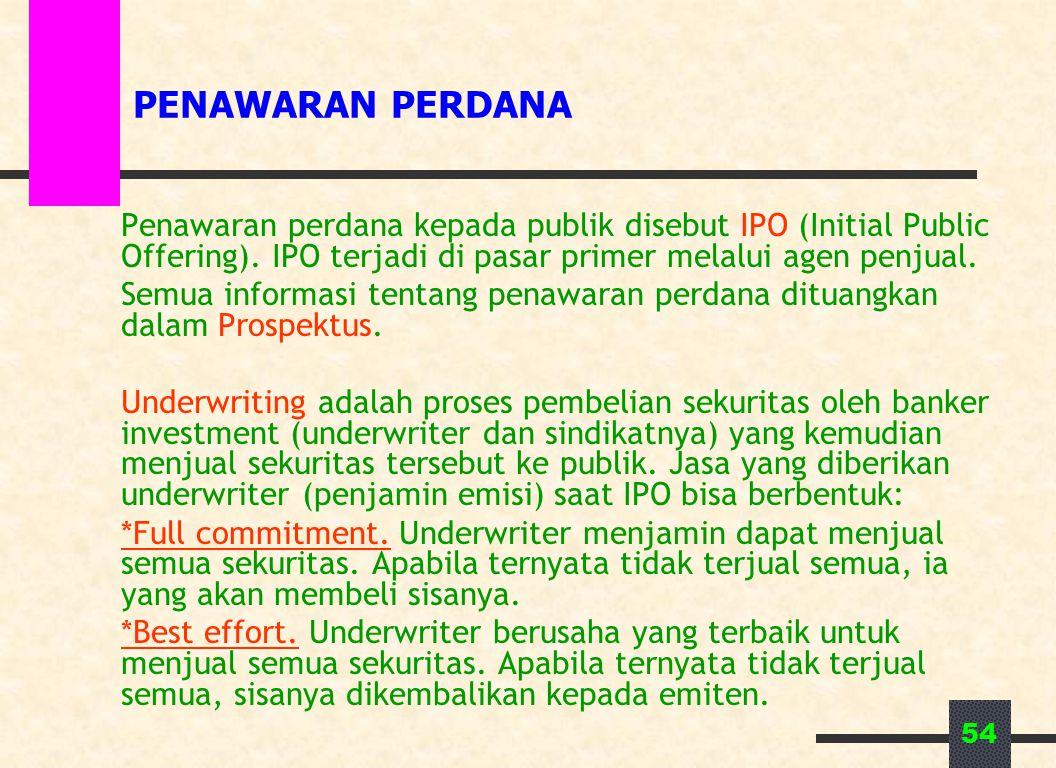 54 PENAWARAN PERDANA Penawaran perdana kepada publik disebut IPO (Initial Public Offering). IPO terjadi di pasar primer melalui agen penjual. Semua in