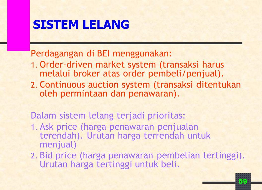 59 SISTEM LELANG Perdagangan di BEI menggunakan: 1. Order-driven market system (transaksi harus melalui broker atas order pembeli/penjual). 2. Continu