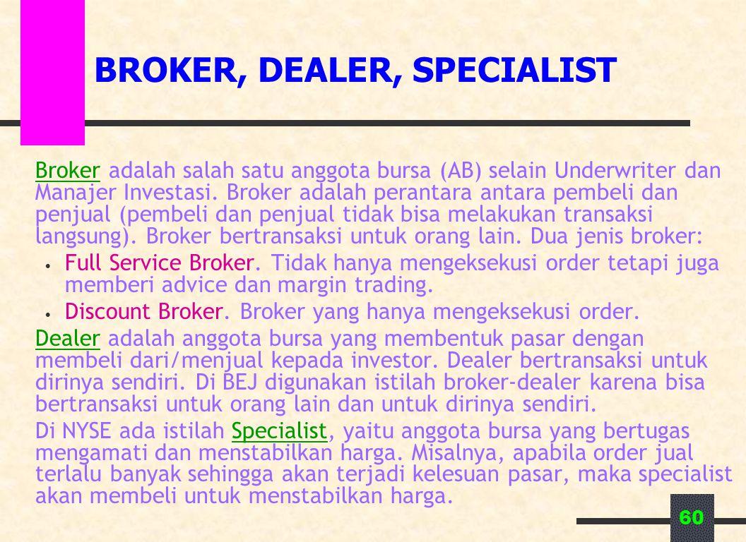 60 BROKER, DEALER, SPECIALIST Broker adalah salah satu anggota bursa (AB) selain Underwriter dan Manajer Investasi. Broker adalah perantara antara pem