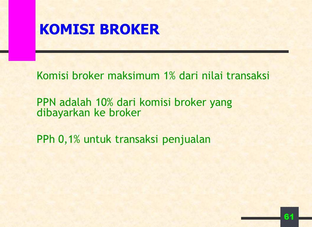 61 KOMISI BROKER Komisi broker maksimum 1% dari nilai transaksi PPN adalah 10% dari komisi broker yang dibayarkan ke broker PPh 0,1% untuk transaksi penjualan