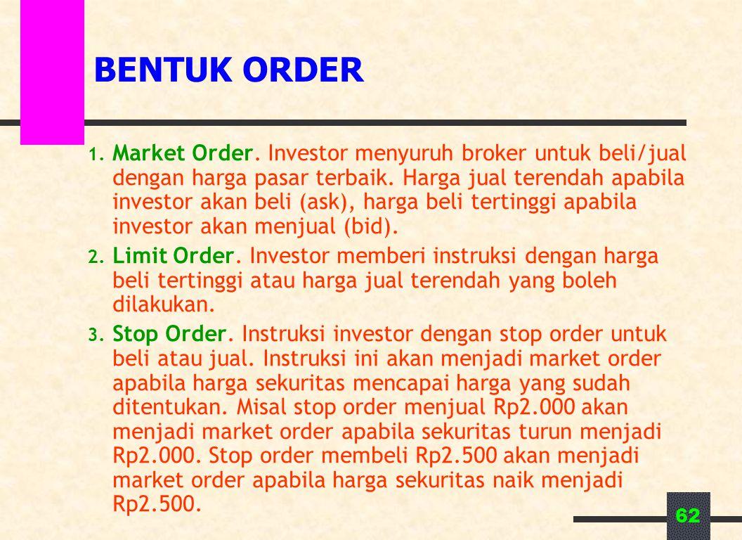 62 BENTUK ORDER 1. Market Order. Investor menyuruh broker untuk beli/jual dengan harga pasar terbaik. Harga jual terendah apabila investor akan beli (