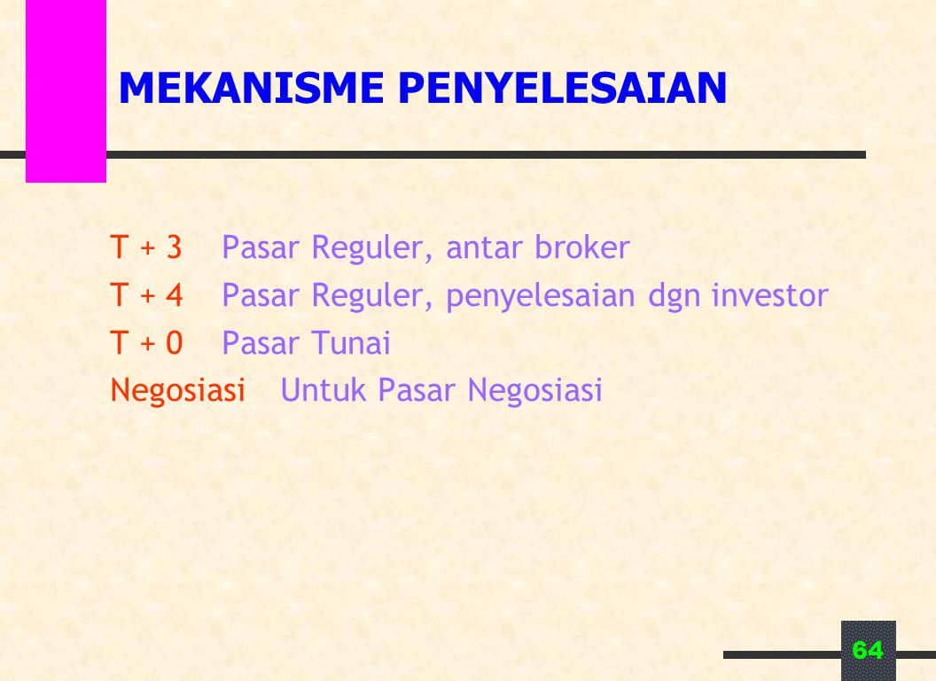 64 MEKANISME PENYELESAIAN T + 3Pasar Reguler, antar broker T + 4Pasar Reguler, penyelesaian dgn investor T + 0Pasar Tunai NegosiasiUntuk Pasar Negosia
