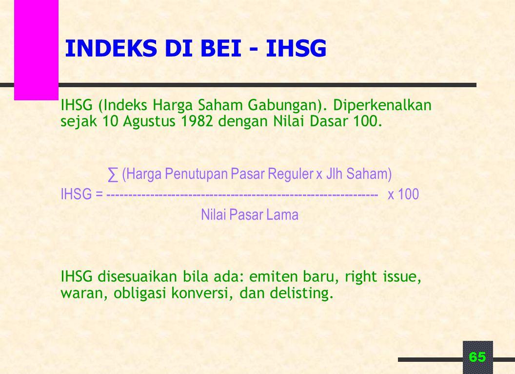 65 INDEKS DI BEI - IHSG IHSG (Indeks Harga Saham Gabungan). Diperkenalkan sejak 10 Agustus 1982 dengan Nilai Dasar 100. ∑ (Harga Penutupan Pasar Regul