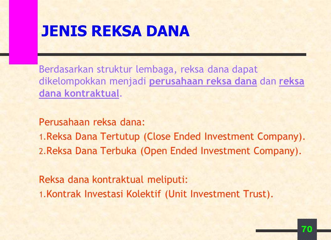 70 JENIS REKSA DANA Berdasarkan struktur lembaga, reksa dana dapat dikelompokkan menjadi perusahaan reksa dana dan reksa dana kontraktual. Perusahaan