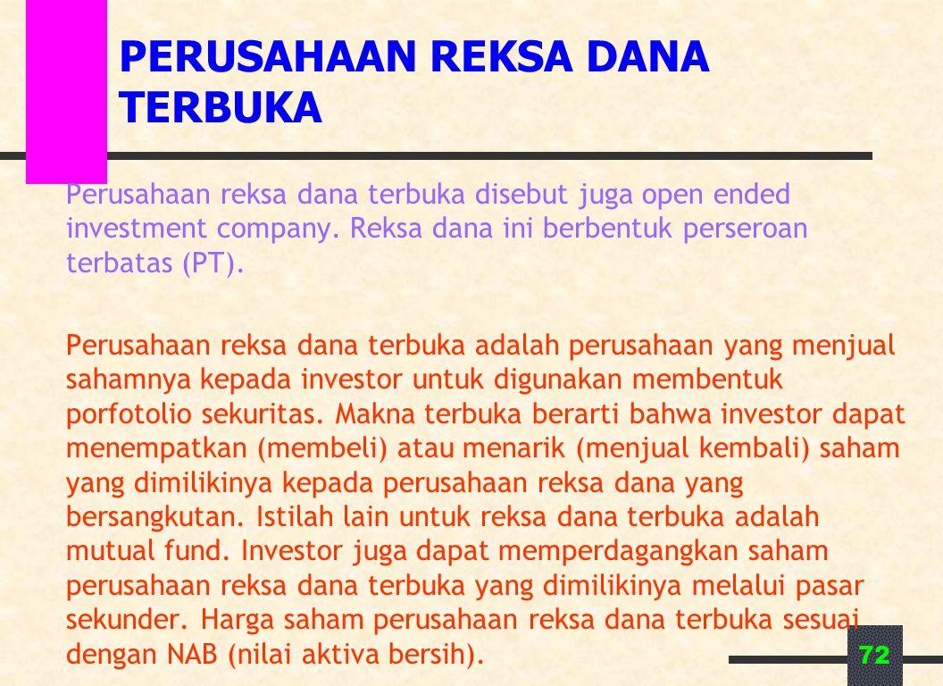 72 PERUSAHAAN REKSA DANA TERBUKA Perusahaan reksa dana terbuka disebut juga open ended investment company. Reksa dana ini berbentuk perseroan terbatas