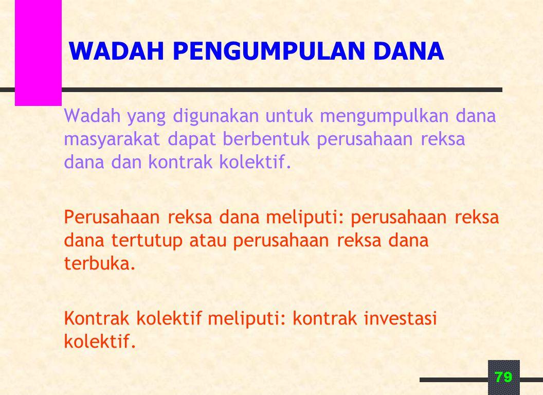 79 WADAH PENGUMPULAN DANA Wadah yang digunakan untuk mengumpulkan dana masyarakat dapat berbentuk perusahaan reksa dana dan kontrak kolektif. Perusaha