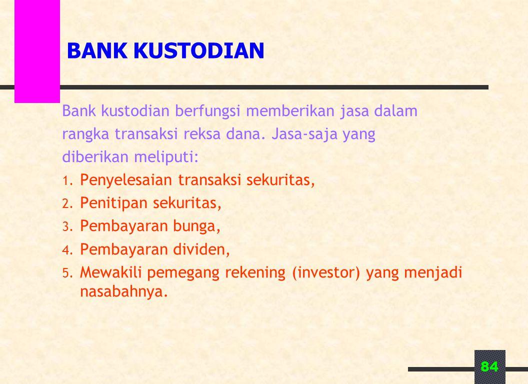 84 BANK KUSTODIAN Bank kustodian berfungsi memberikan jasa dalam rangka transaksi reksa dana. Jasa-saja yang diberikan meliputi: 1. Penyelesaian trans
