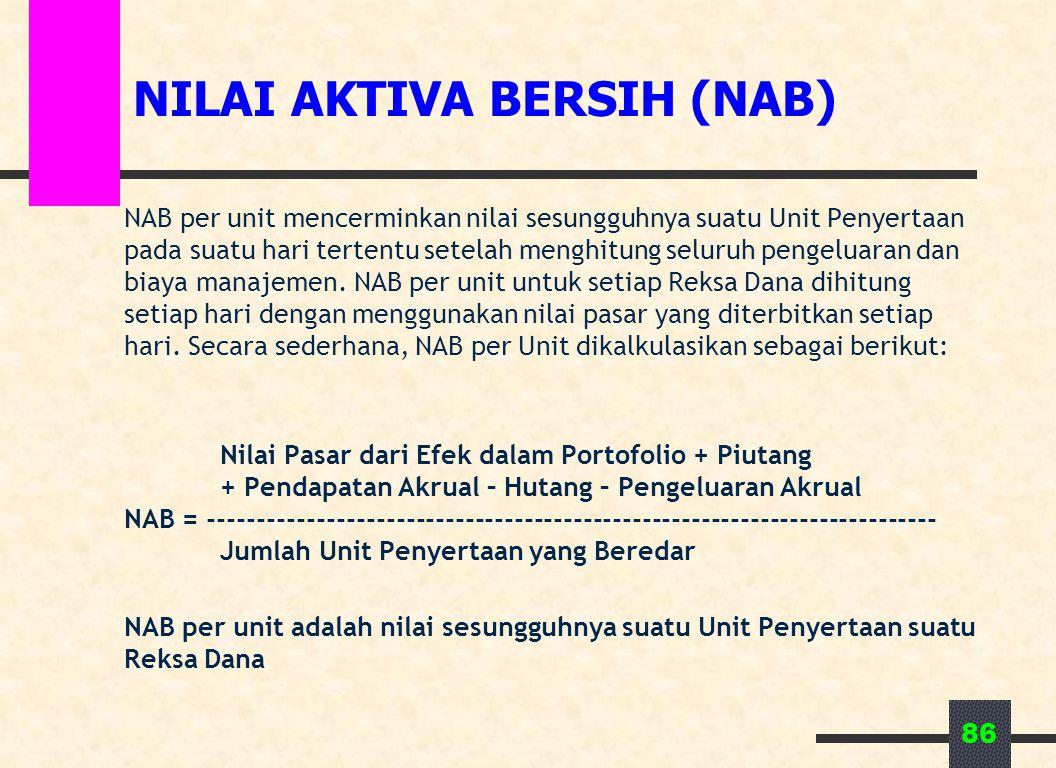 86 NILAI AKTIVA BERSIH (NAB) NAB per unit mencerminkan nilai sesungguhnya suatu Unit Penyertaan pada suatu hari tertentu setelah menghitung seluruh pengeluaran dan biaya manajemen.