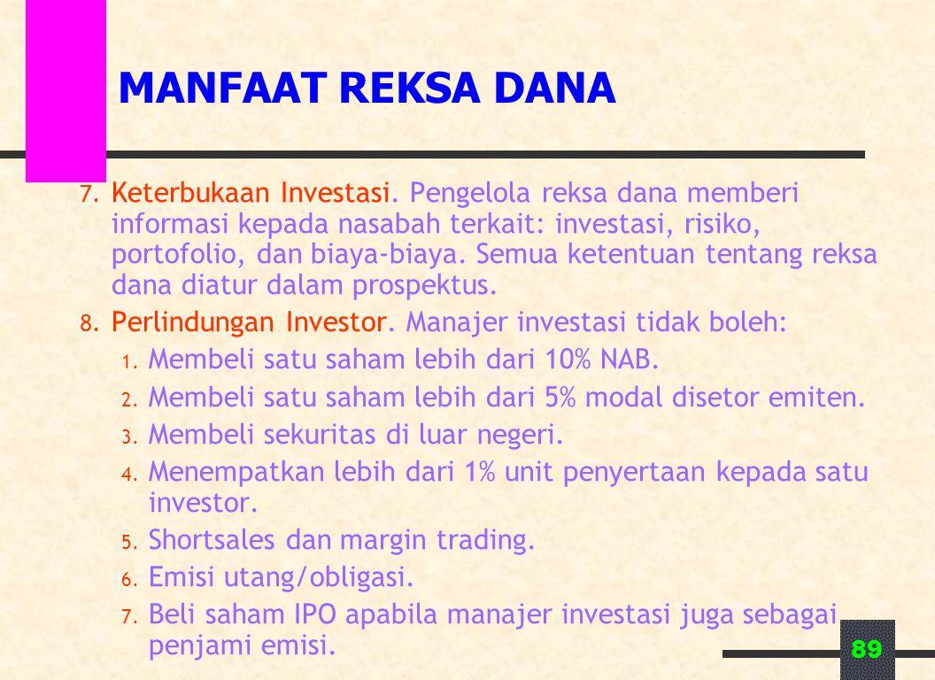89 MANFAAT REKSA DANA 7. Keterbukaan Investasi. Pengelola reksa dana memberi informasi kepada nasabah terkait: investasi, risiko, portofolio, dan biay