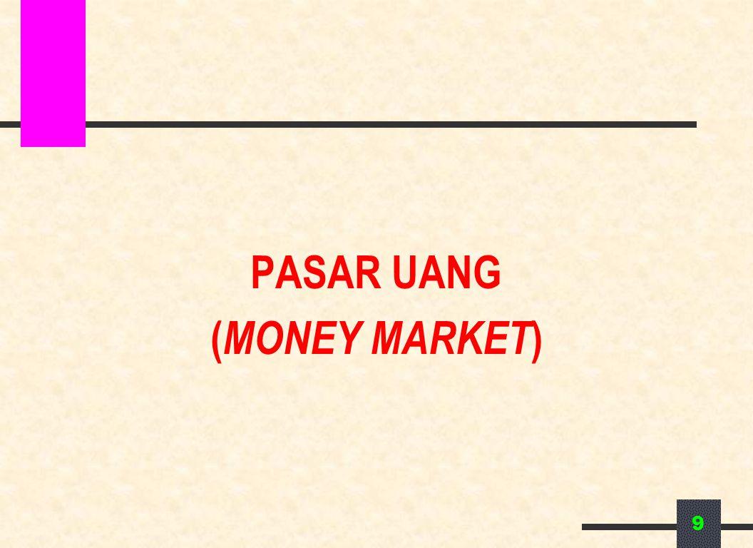 PASAR UANG Pasar yang memperjualbelikan surat berharga jangka pendek yang jangka waktunya tidak lebih dari satu tahun 10