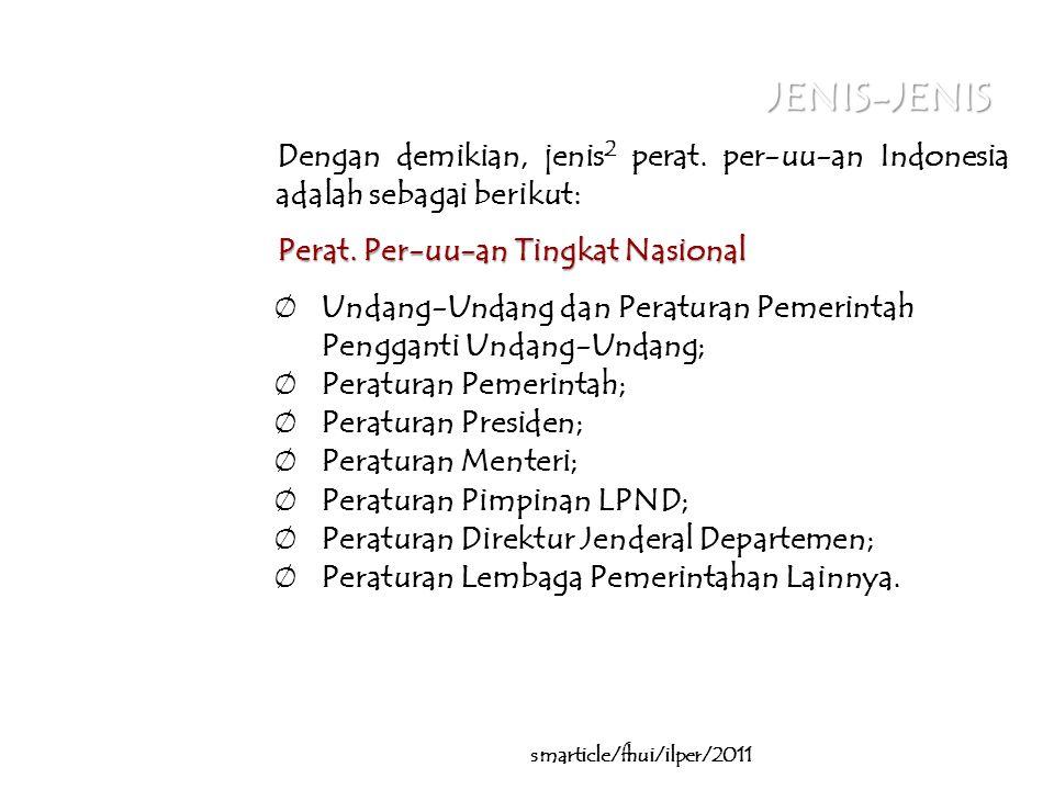 JENIS-JENIS Dengan demikian, jenis 2 perat.per-uu-an Indonesia adalah sebagai berikut: Perat.