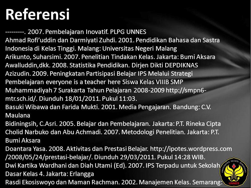 Referensi ---------. 2007. Pembelajaran Inovatif. PLPG UNNES Ahmad Rofi'uddin dan Darmiyati Zuhdi. 2001. Pendidikan Bahasa dan Sastra Indonesia di Kel