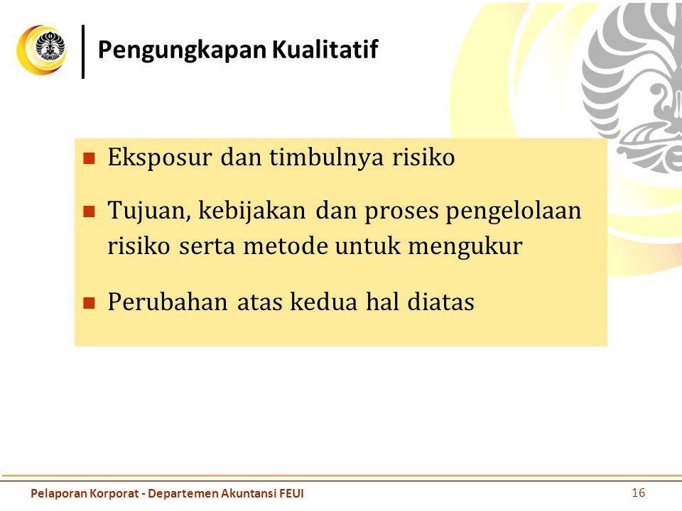 Pengungkapan Kualitatif Eksposur dan timbulnya risiko Tujuan, kebijakan dan proses pengelolaan risiko serta metode untuk mengukur Perubahan atas kedua