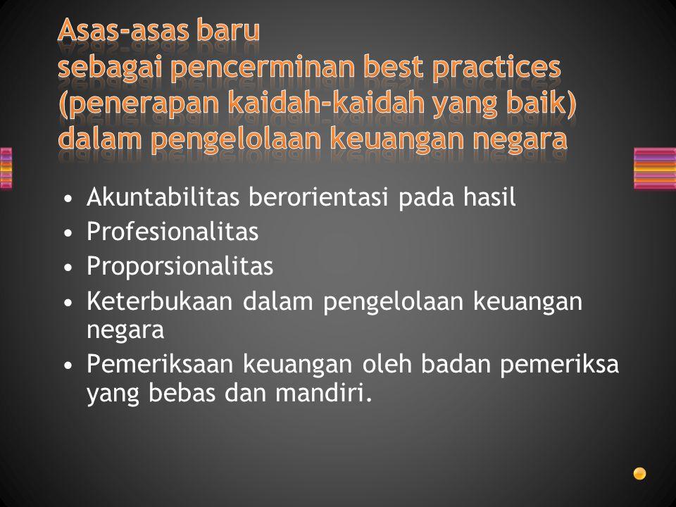 Akuntabilitas berorientasi pada hasil Profesionalitas Proporsionalitas Keterbukaan dalam pengelolaan keuangan negara Pemeriksaan keuangan oleh badan p