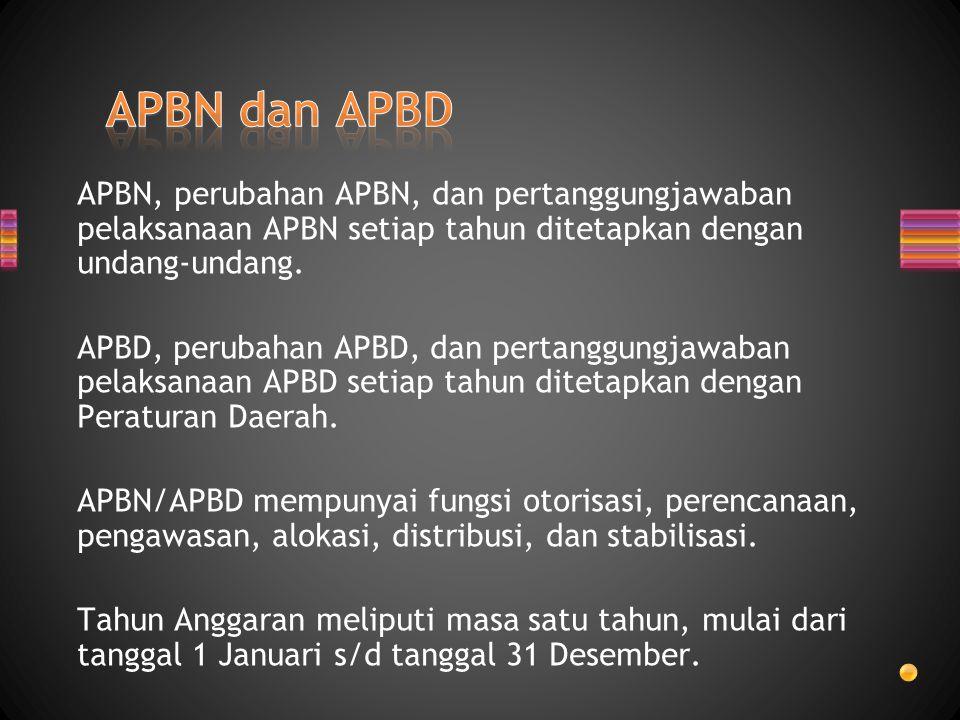 APBN, perubahan APBN, dan pertanggungjawaban pelaksanaan APBN setiap tahun ditetapkan dengan undang-undang. APBD, perubahan APBD, dan pertanggungjawab