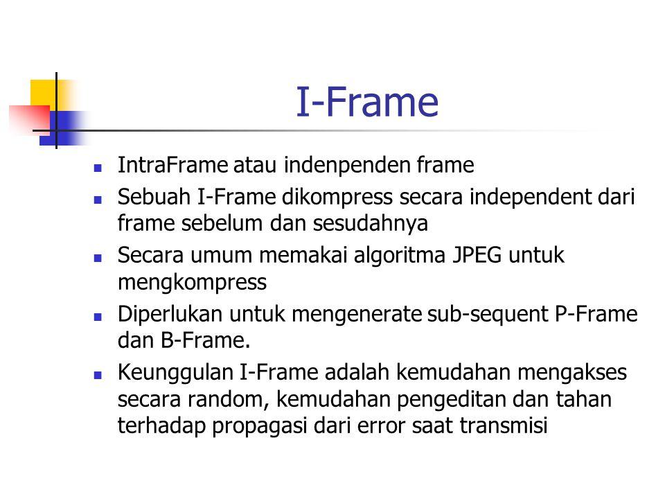 I-Frame IntraFrame atau indenpenden frame Sebuah I-Frame dikompress secara independent dari frame sebelum dan sesudahnya Secara umum memakai algoritma JPEG untuk mengkompress Diperlukan untuk mengenerate sub-sequent P-Frame dan B-Frame.