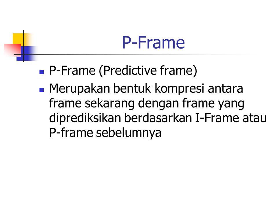 P-Frame P-Frame (Predictive frame) Merupakan bentuk kompresi antara frame sekarang dengan frame yang diprediksikan berdasarkan I-Frame atau P-frame sebelumnya