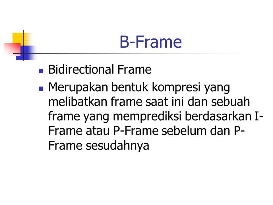 B-Frame Bidirectional Frame Merupakan bentuk kompresi yang melibatkan frame saat ini dan sebuah frame yang memprediksi berdasarkan I- Frame atau P-Frame sebelum dan P- Frame sesudahnya