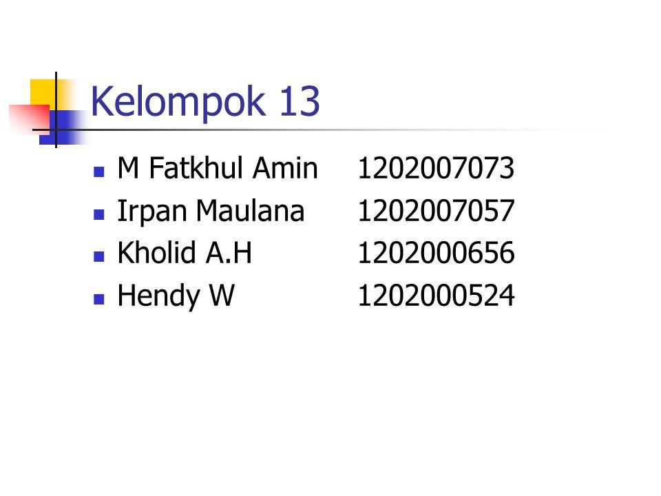Kelompok 13 M Fatkhul Amin1202007073 Irpan Maulana1202007057 Kholid A.H1202000656 Hendy W1202000524