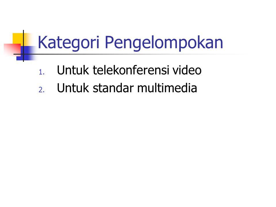 Kategori Pengelompokan 1. Untuk telekonferensi video 2. Untuk standar multimedia
