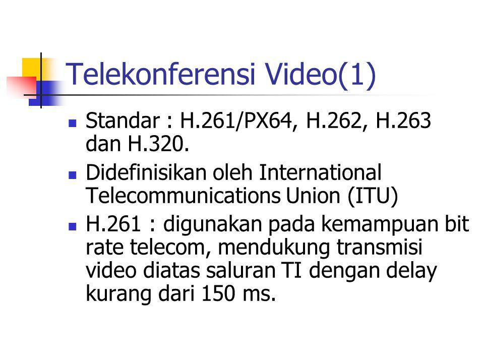 Telekonferensi Video(1) Standar : H.261/PX64, H.262, H.263 dan H.320.
