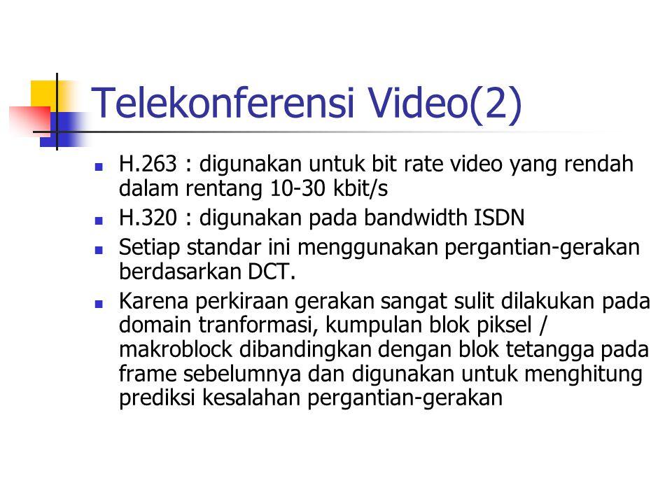 Telekonferensi Video(2) H.263 : digunakan untuk bit rate video yang rendah dalam rentang 10-30 kbit/s H.320 : digunakan pada bandwidth ISDN Setiap standar ini menggunakan pergantian-gerakan berdasarkan DCT.