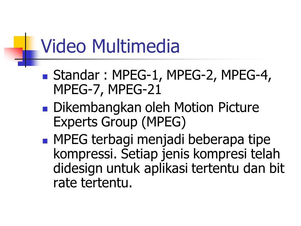 Video Multimedia Standar : MPEG-1, MPEG-2, MPEG-4, MPEG-7, MPEG-21 Dikembangkan oleh Motion Picture Experts Group (MPEG) MPEG terbagi menjadi beberapa tipe kompressi.