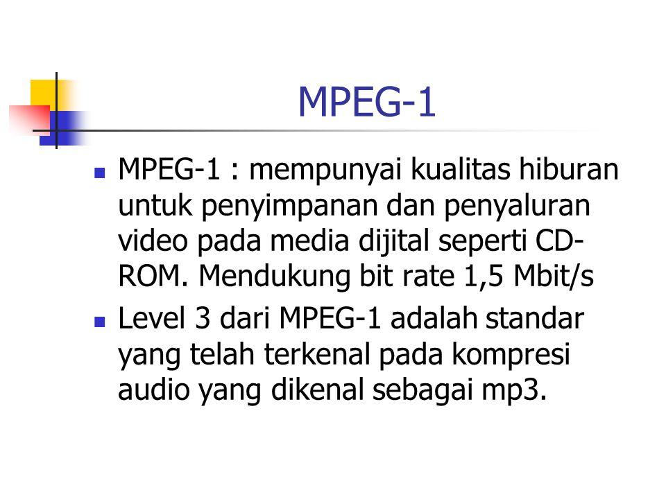 MPEG-1 MPEG-1 : mempunyai kualitas hiburan untuk penyimpanan dan penyaluran video pada media dijital seperti CD- ROM.