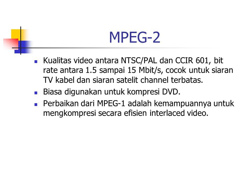 MPEG-2 Kualitas video antara NTSC/PAL dan CCIR 601, bit rate antara 1.5 sampai 15 Mbit/s, cocok untuk siaran TV kabel dan siaran satelit channel terbatas.