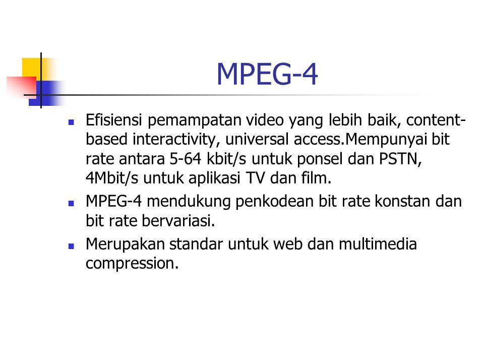 MPEG-4 Efisiensi pemampatan video yang lebih baik, content- based interactivity, universal access.Mempunyai bit rate antara 5-64 kbit/s untuk ponsel dan PSTN, 4Mbit/s untuk aplikasi TV dan film.