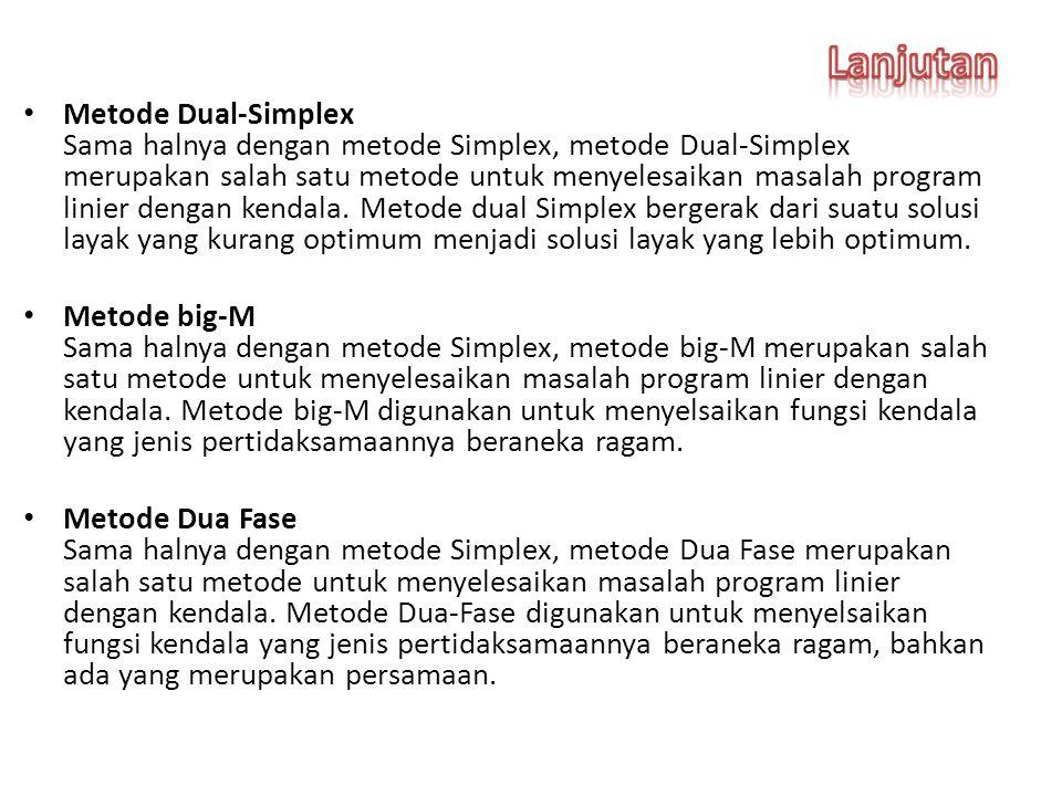 Metode Dual-Simplex Sama halnya dengan metode Simplex, metode Dual-Simplex merupakan salah satu metode untuk menyelesaikan masalah program linier dengan kendala.