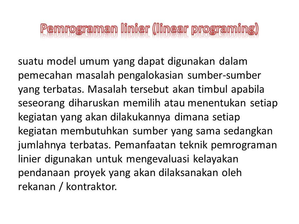 suatu model umum yang dapat digunakan dalam pemecahan masalah pengalokasian sumber-sumber yang terbatas.