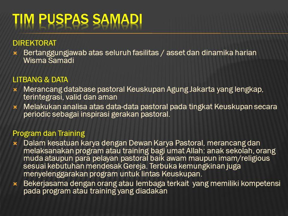 DIREKTORAT  Bertanggungjawab atas seluruh fasilitas / asset dan dinamika harian Wisma Samadi LITBANG & DATA  Merancang database pastoral Keuskupan A
