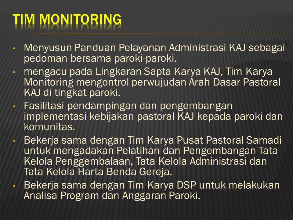 Menyusun Panduan Pelayanan Administrasi KAJ sebagai pedoman bersama paroki-paroki. mengacu pada Lingkaran Sapta Karya KAJ, Tim Karya Monitoring mengon