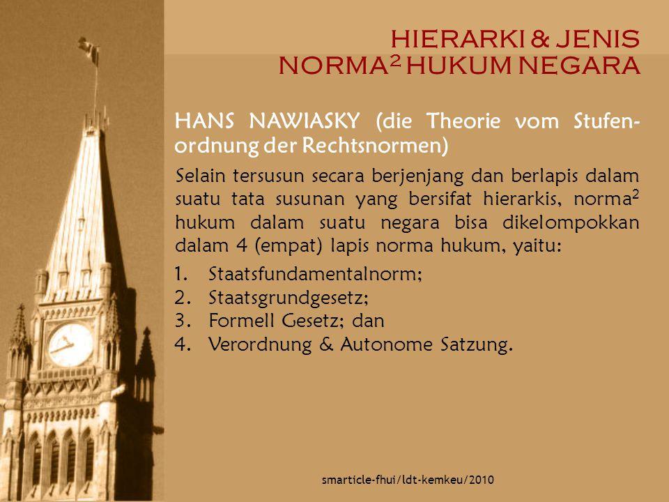 HIERARKI & JENIS NORMA 2 HUKUM NEGARA smarticle-fhui/ldt-kemkeu/2010 HANS NAWIASKY (die Theorie vom Stufen- ordnung der Rechtsnormen) Selain tersusun