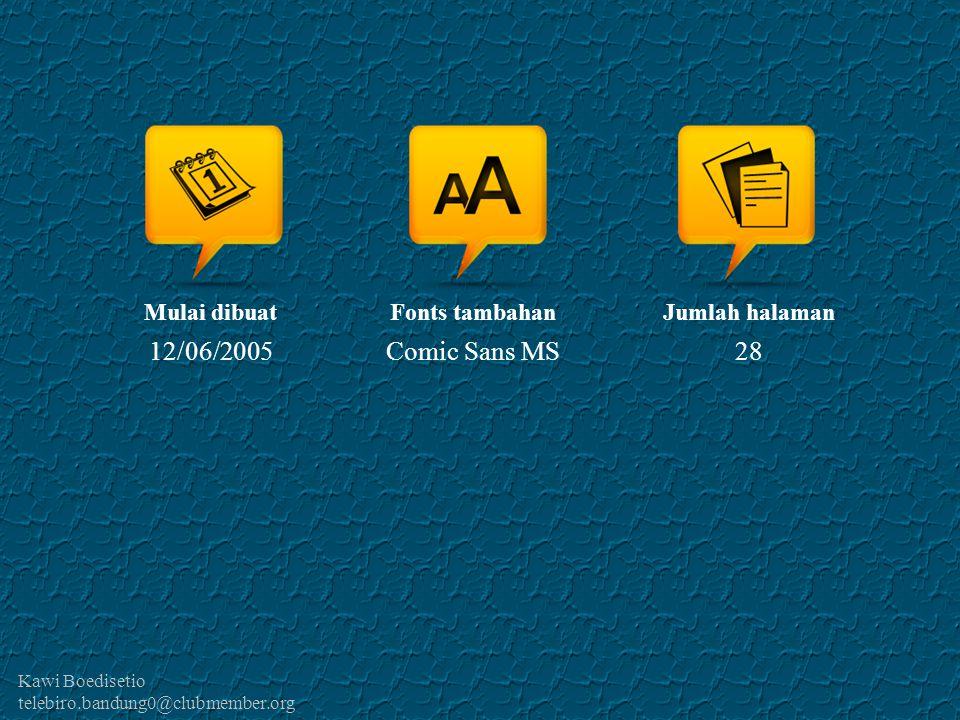 Kawi Boedisetio telebiro.bandung0@clubmember.org Mulai dibuat 12/06/2005 Fonts tambahan Comic Sans MS Jumlah halaman 28