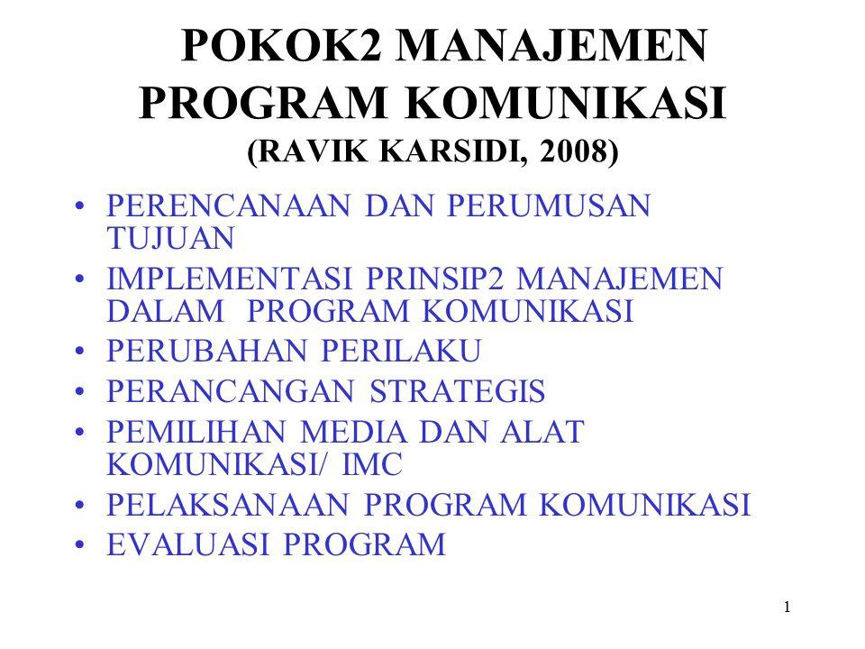 1 POKOK2 MANAJEMEN PROGRAM KOMUNIKASI (RAVIK KARSIDI, 2008) PERENCANAAN DAN PERUMUSAN TUJUAN IMPLEMENTASI PRINSIP2 MANAJEMEN DALAM PROGRAM KOMUNIKASI PERUBAHAN PERILAKU PERANCANGAN STRATEGIS PEMILIHAN MEDIA DAN ALAT KOMUNIKASI/ IMC PELAKSANAAN PROGRAM KOMUNIKASI EVALUASI PROGRAM