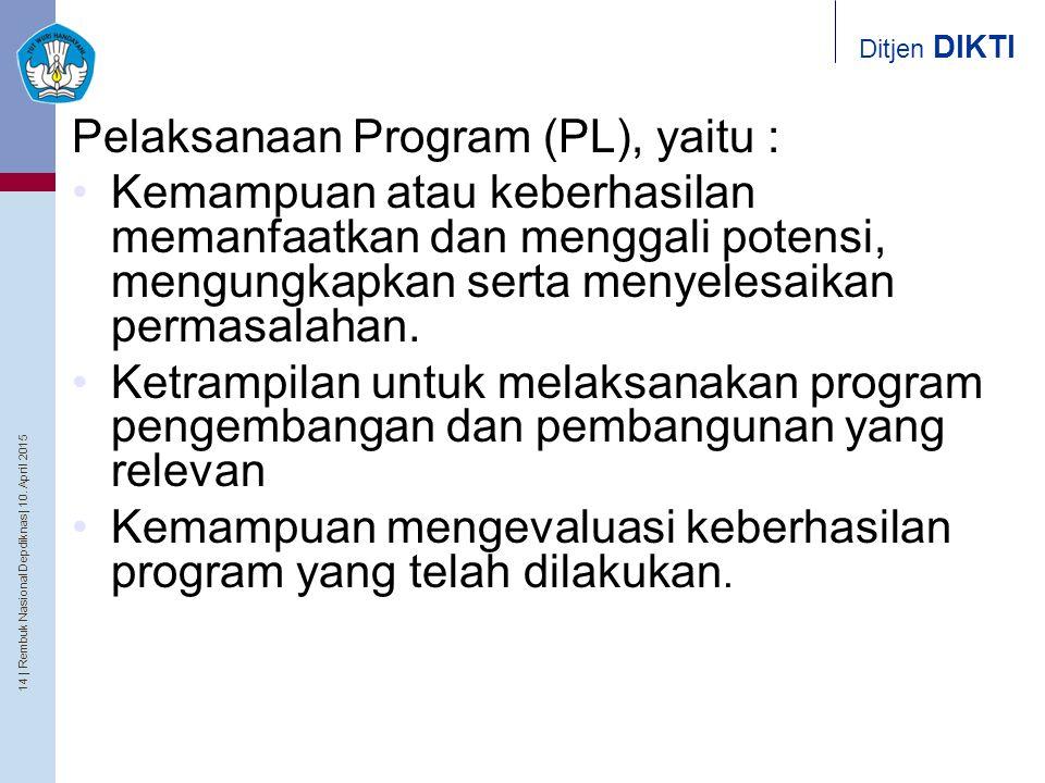 14   Rembuk Nasional Depdiknas   10. April 2015 Ditjen DIKTI Pelaksanaan Program (PL), yaitu : Kemampuan atau keberhasilan memanfaatkan dan menggali p