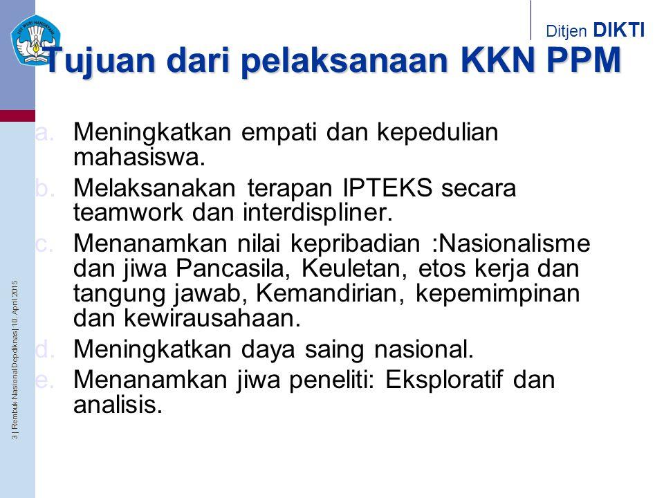 3   Rembuk Nasional Depdiknas   10. April 2015 Ditjen DIKTI Tujuan dari pelaksanaan KKN PPM a.Meningkatkan empati dan kepedulian mahasiswa. b.Melaksan