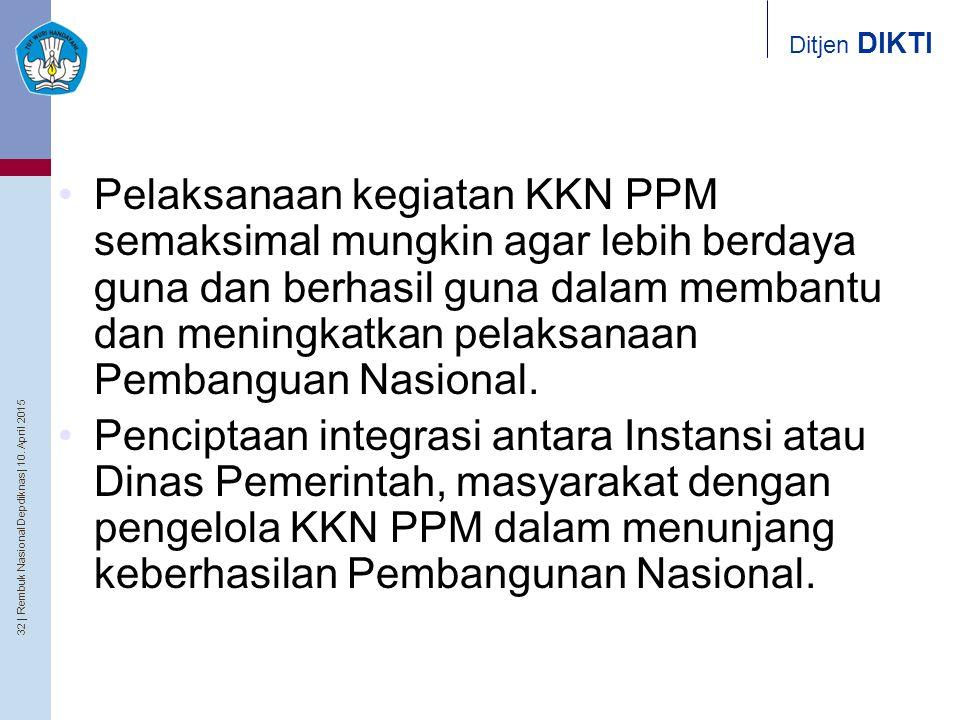 32   Rembuk Nasional Depdiknas   10. April 2015 Ditjen DIKTI Pelaksanaan kegiatan KKN PPM semaksimal mungkin agar lebih berdaya guna dan berhasil guna