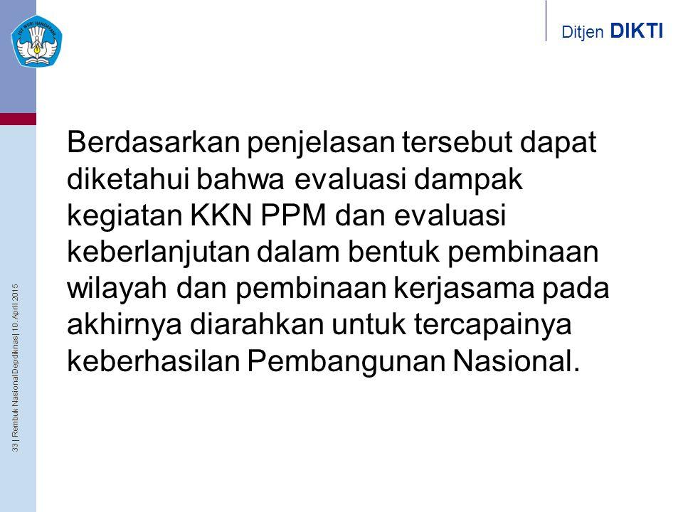 33   Rembuk Nasional Depdiknas   10. April 2015 Ditjen DIKTI Berdasarkan penjelasan tersebut dapat diketahui bahwa evaluasi dampak kegiatan KKN PPM da
