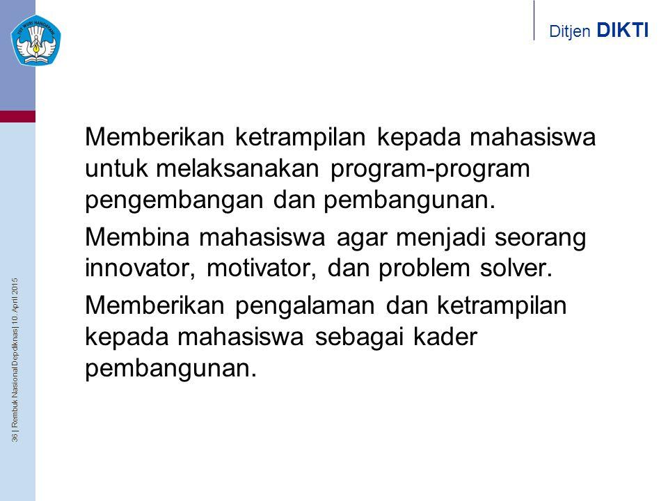 36   Rembuk Nasional Depdiknas   10. April 2015 Ditjen DIKTI 3.Memberikan ketrampilan kepada mahasiswa untuk melaksanakan program-program pengembangan