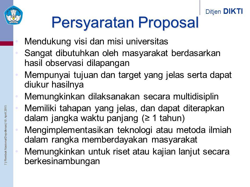 7   Rembuk Nasional Depdiknas   10. April 2015 Ditjen DIKTI Persyaratan Proposal Mendukung visi dan misi universitas Sangat dibutuhkan oleh masyarakat