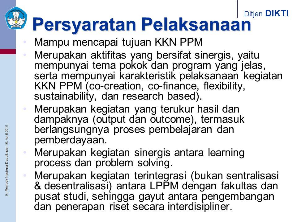 9   Rembuk Nasional Depdiknas   10. April 2015 Ditjen DIKTI Persyaratan Pelaksanaan Mampu mencapai tujuan KKN PPM Merupakan aktifitas yang bersifat si